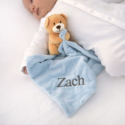 Personalised Blue Teddy Baby Comforter